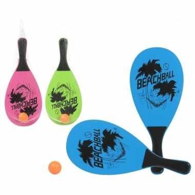 Groothandel actief speelgoed tennis/beachball setje blauw kopen