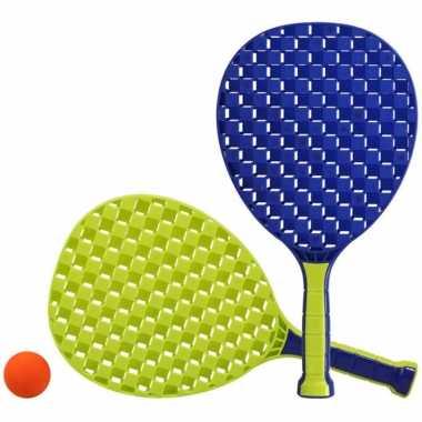 Groothandel actief speelgoed tennis/beachball setje blauw/groen kopen