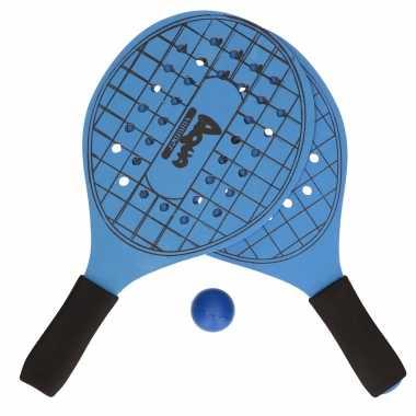 Groothandel actief speelgoed tennis/beachball setje blauw met tennisracketmotief kopen