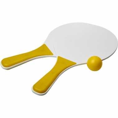 Groothandel actief speelgoed tennis/beachball setje geel/wit kopen