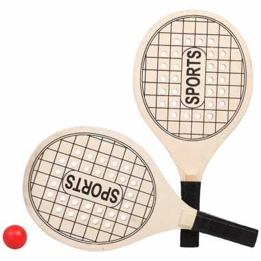 Groothandel actief speelgoed tennis/beachball setje houtkleurig met tennisracketmotief kopen