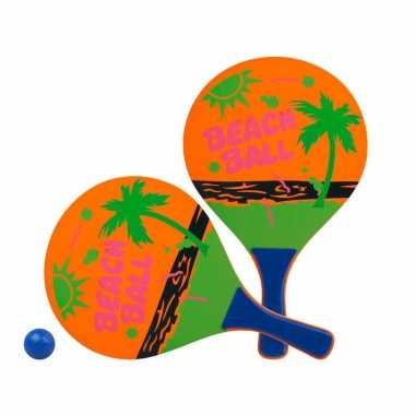 Groothandel actief speelgoed tennis/beachball setje oranje met strandmotief kopen