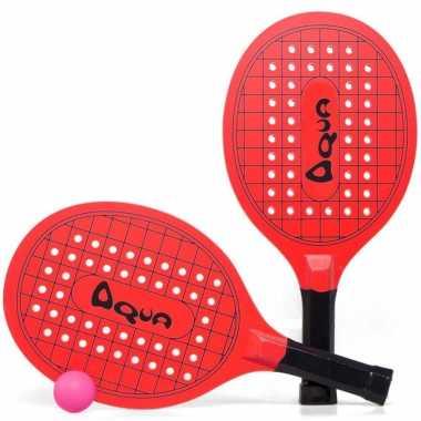 Groothandel actief speelgoed tennis/beachball setje rood met tennisracketmotief kopen