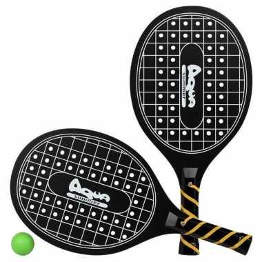 Groothandel actief speelgoed tennis/beachball setje zwart met tennisracketmotief kopen