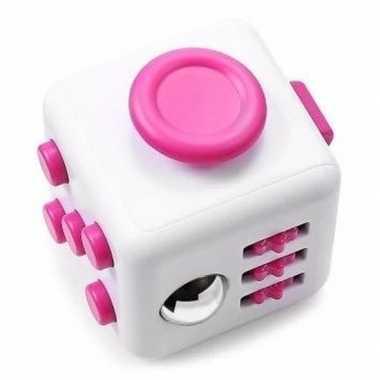 Groothandel anti stress speelgoed fidget cube roze wit kopen