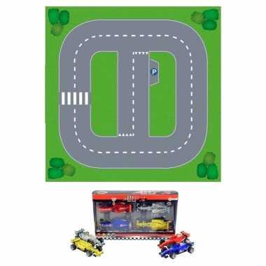 Groothandel basic diy speelgoed stratenplan/ kartonnen speelkleed + 4