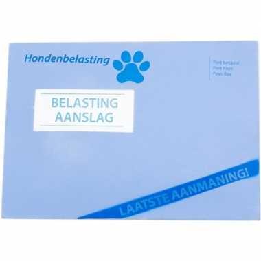 Groothandel blauwe enveloppe hondenspeeltje 14 x 20 cm met piep gelui