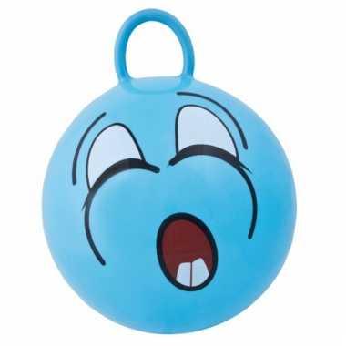 Groothandel blauwe skippybal met grappig gezicht 45cm speelgoed kopen