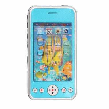 Groothandel blauwe speelgoed smartphone/mobiele telefoon met licht en geluid 11 cm kopen