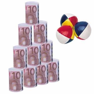 Groothandel blikken gooien 10 euro geld biljet blik 13 cm speelset 13-delig kermis speelgoed kopen