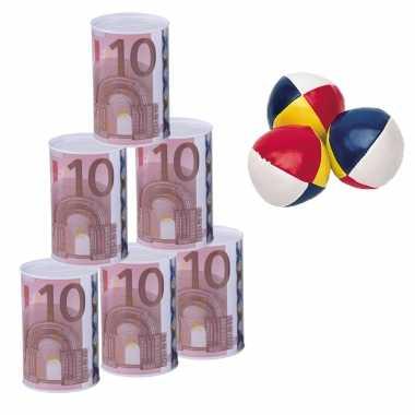 Groothandel blikken gooien 10 euro geld biljet blik 13 cm speelset 9-delig kermis speelgoed kopen