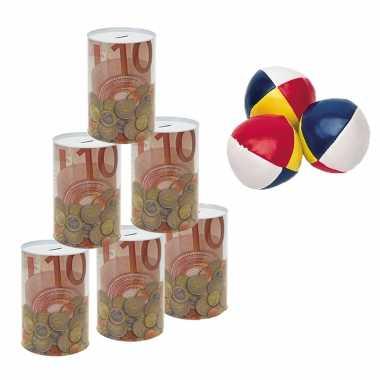 Groothandel blikken gooien 10 euro geld biljet blik 23 cm speelset 9-delig kermis speelgoed kopen