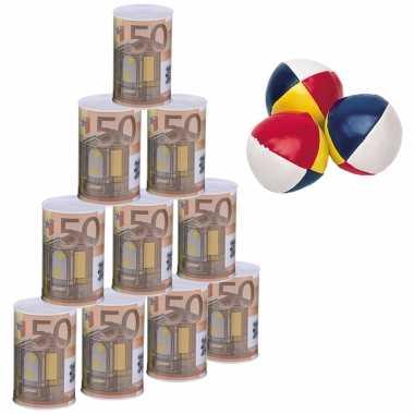 Groothandel blikken gooien 50 euro geld biljet blik 11 cm speelset 13-delig kermis speelgoed kopen