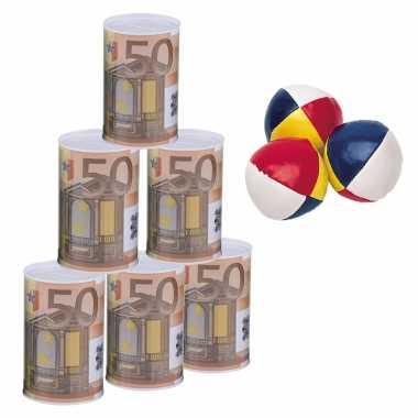 Groothandel blikken gooien 50 euro geld biljet blik 11 cm speelset 9-delig kermis speelgoed kopen