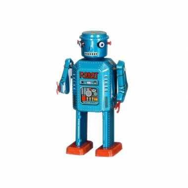Groothandel blikken speelgoed robot blauw 13 cm kopen