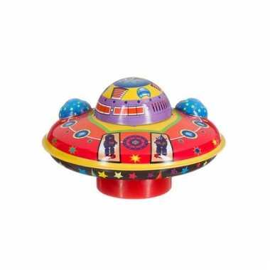 Groothandel blikken speelgoed vliegende schotel 14 cm