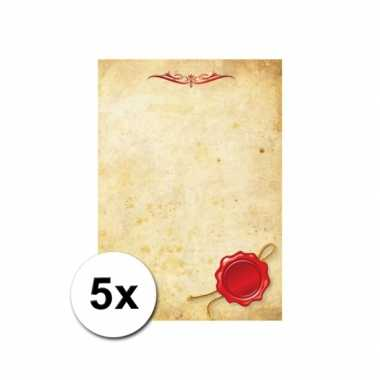 Groothandel briefpapier a4 perkament stijl 5 stuks speelgoed