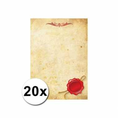 Groothandel briefpapier perkament stijl 20 stuks speelgoed kopen