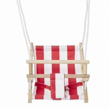 Groothandel buitenspeelgoed baby schommel van hout met stoffen zitje kopen