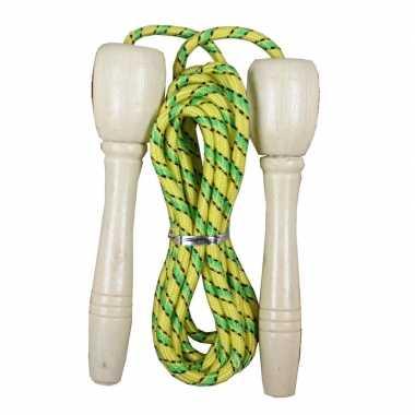 Groothandel buitenspeelgoed groen/geel springtouw 236 cm kopen