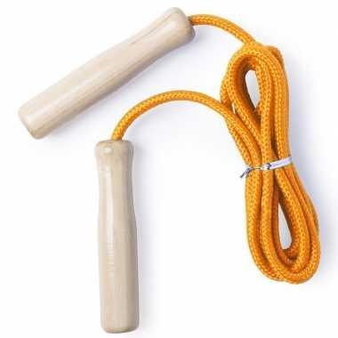 Groothandel buitenspeelgoed oranje springtouw 240 cm met houten grepen voor kinderen kopen