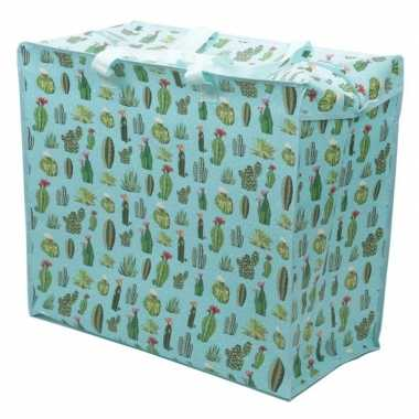 Groothandel cactussen print opbergzak 55 x 48 cm speelgoed/knuffels o