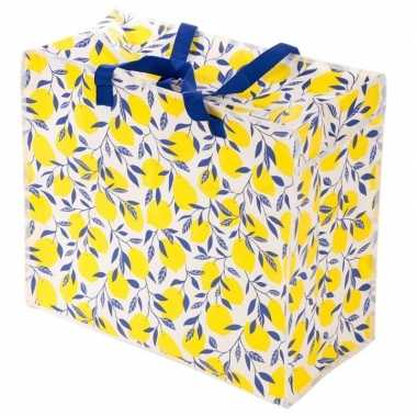 Groothandel citroenen print opbergzak 55 x 48 cm speelgoed/knuffels o