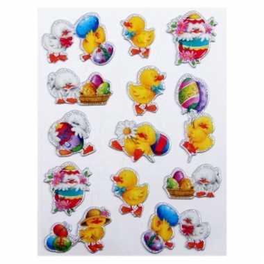 Groothandel decoratie stickers paaskuiken 13 stuks speelgoed kopen