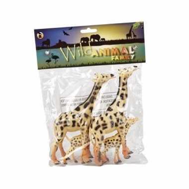 Groothandel familieset speelgoed giraffes 4st rubber kopen
