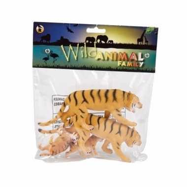 Groothandel familieset speelgoed tijgers 4st rubber kopen