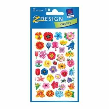 Groothandel gekleurde bloemen stickertjes 2 vellen speelgoed kopen
