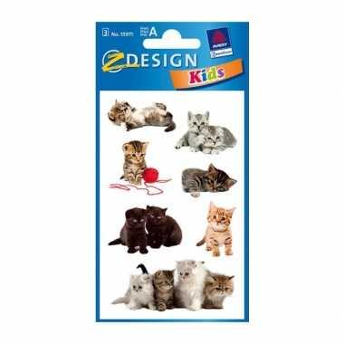 Groothandel gekleurde kitten stickertjes 3 vellen speelgoed kopen