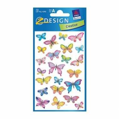 Groothandel gekleurde vlinder stickertjes 3 vellen speelgoed kopen
