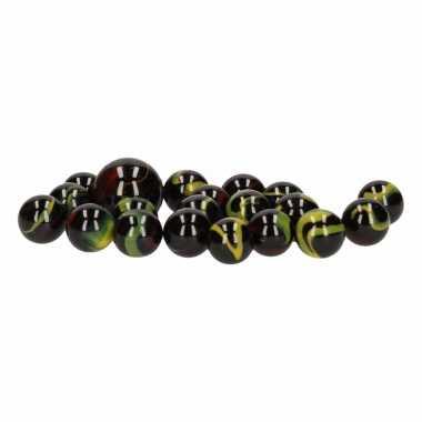 Groothandel glazen knikkers speelgoed 20x black warrior kopen
