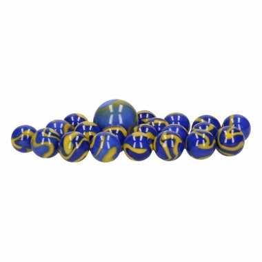Groothandel glazen knikkers speelgoed 20x blue warrior kopen