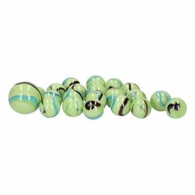 Groothandel glazen knikkers speelgoed 20x green butterflies kopen