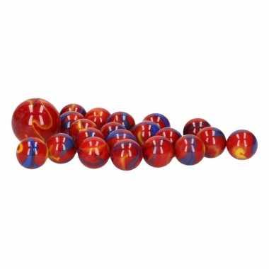 Groothandel glazen knikkers speelgoed 20x red odin kopen