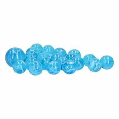 Groothandel glazen knikkers speelgoed 20x sky blue marbles kopen