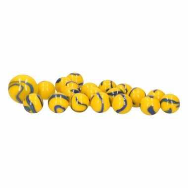 Groothandel glazen knikkers speelgoed 20x yellow and blue dory kopen