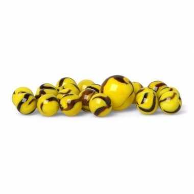 Groothandel glazen knikkers speelgoed 20x yellow warrior kopen