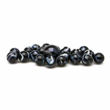 Groothandel glazen knikkers speelgoed 42x black zebra kopen