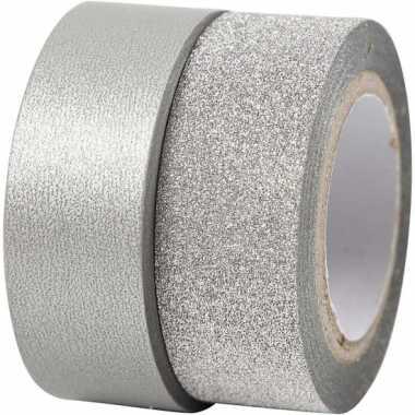 Groothandel glitter tape zilver 2 rollen speelgoed kopen