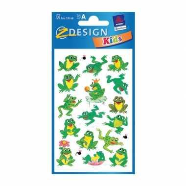 Groothandel groene kikker stickertjes 3 vellen speelgoed kopen