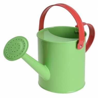Groothandel groene stalen strand/zandbak gieter 15 cm speelgoed kopen