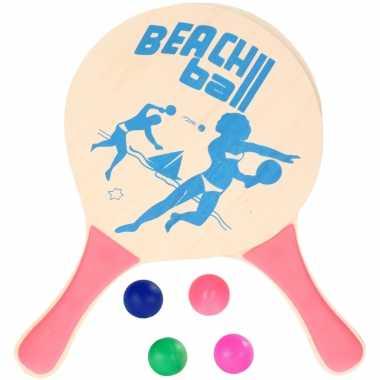 Groothandel houten beachball set roze met extra balletjes speelgoed kopen