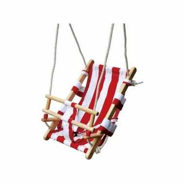 Groothandel houten schommel voor baby wit rood speelgoed kopen