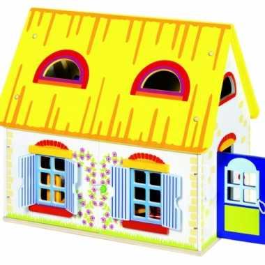 Groothandel houten speel poppenhuis 39,5 x 24,5 x 35 cm speelgoed kop
