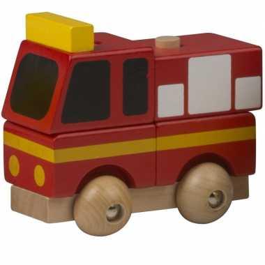 Groothandel houten speelgoed brandweer rood