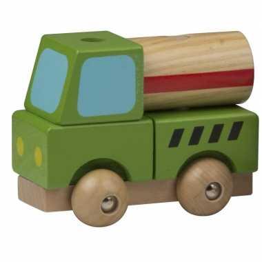 Groothandel houten speelgoed cement vrachtwagen groen