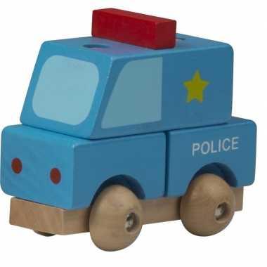 Groothandel houten speelgoed politie wagen blauw kopen